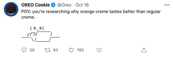 Tweet from OREO with an ASCII meme