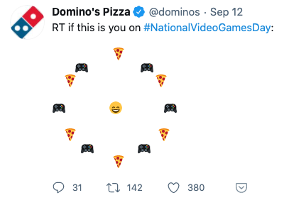Tweet from Domino's Pizza with an emoji meme