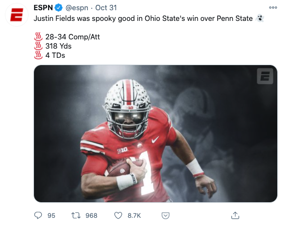 Tweet from ESPN with an unordered list starting each line with an emoji