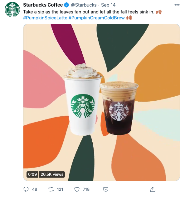 Tweet from Starbucks with hashtags at the end