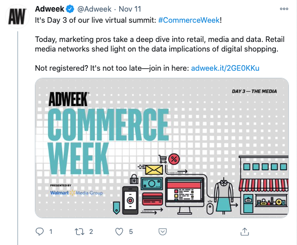 Tweet from Adweek giving context to announce a link