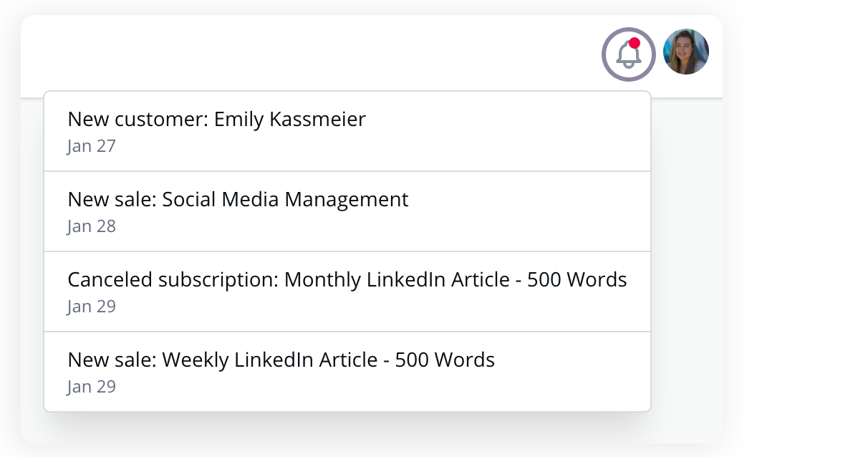 Screenshot of Workify platform notifications