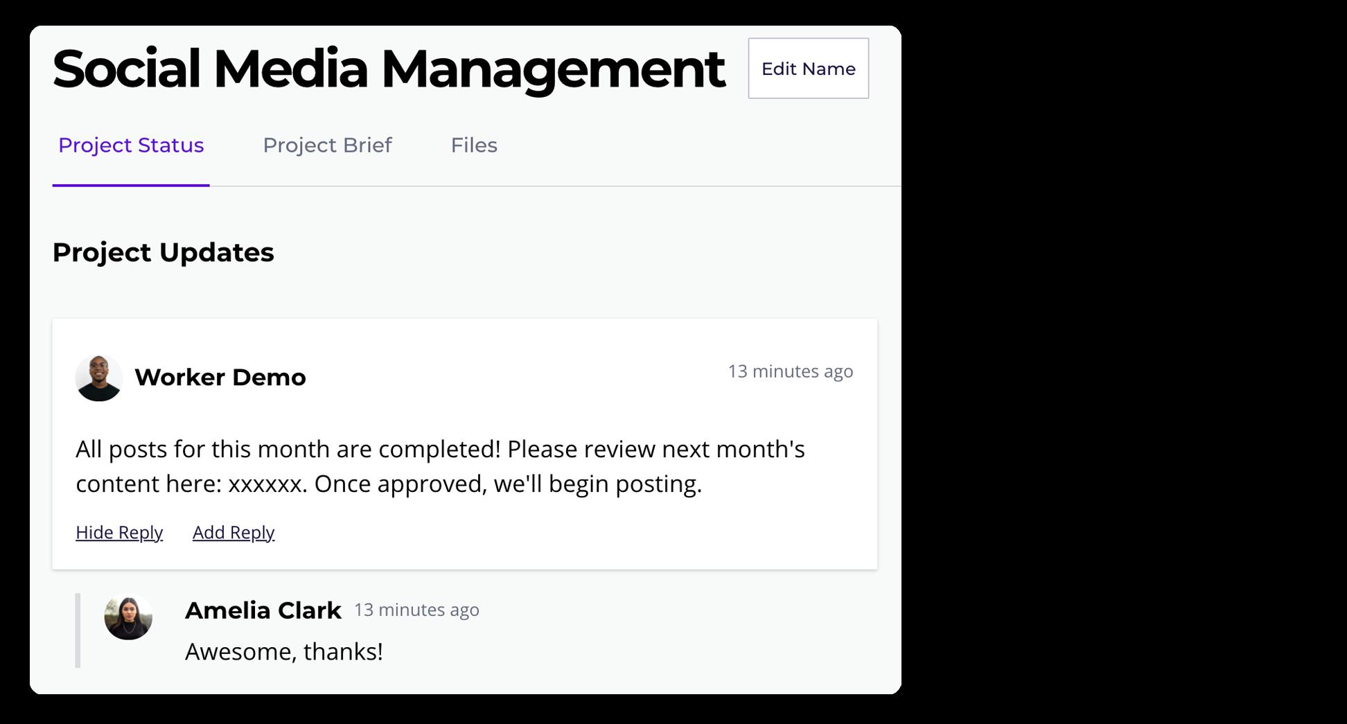 Screenshot of Workify platform status reports